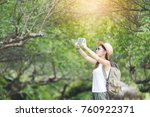 travel happy woman tourists the ... | Shutterstock . vector #760922371