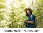 happy female tourist to travel... | Shutterstock . vector #760922389