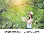travel women are watching the... | Shutterstock . vector #760922395