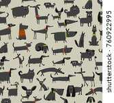 cute dogs collection  seamless... | Shutterstock .eps vector #760922995