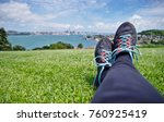 close up of woman's legs laying ... | Shutterstock . vector #760925419