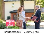 seller congratulating a young... | Shutterstock . vector #760926751