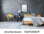 poster on concrete wall above... | Shutterstock . vector #760928839