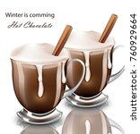 hot chocolate drink in glasses...   Shutterstock .eps vector #760929664