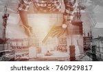 double exposure engineer are... | Shutterstock . vector #760929817