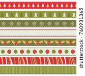 set of seamless holiday ribbons ... | Shutterstock .eps vector #760931365