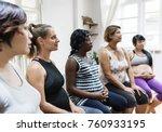 pregnant women in a class | Shutterstock . vector #760933195
