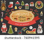christmas background in retro... | Shutterstock .eps vector #760941595