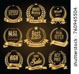 golden retro sale badges and... | Shutterstock .eps vector #760945504