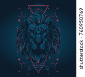 lion in sacred geometric style | Shutterstock .eps vector #760950769