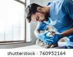 handsome male doctor... | Shutterstock . vector #760952164