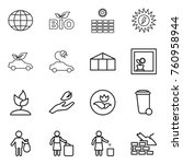 thin line icon set   globe  bio ... | Shutterstock .eps vector #760958944