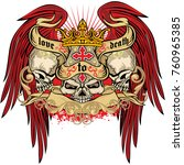 gothic coat of arms with skull  ... | Shutterstock .eps vector #760965385