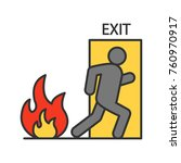 fire emergency exit door with... | Shutterstock .eps vector #760970917
