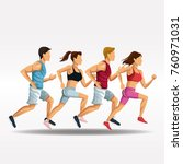 people running fitness lifestyle | Shutterstock .eps vector #760971031
