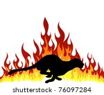 puma silhouette with flame... | Shutterstock .eps vector #76097284