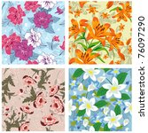 seamless vector floral pattern. ... | Shutterstock .eps vector #76097290