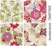 seamless vector floral pattern. ... | Shutterstock .eps vector #76097305
