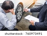 insurance agent writing on... | Shutterstock . vector #760973491