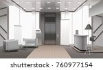 realistic grey color lobby... | Shutterstock .eps vector #760977154