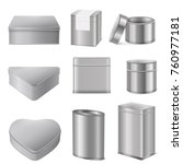 realistic various shapes tin... | Shutterstock .eps vector #760977181