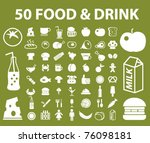 50 bio food   drink icons ... | Shutterstock .eps vector #76098181