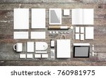 blank stationery set on wooden... | Shutterstock . vector #760981975