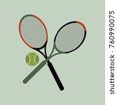 tennis racket and tennis ball... | Shutterstock .eps vector #760990075
