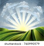 rolling hills or farmland... | Shutterstock .eps vector #760990579