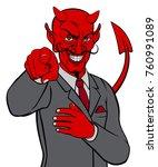 cartoon devil satan business... | Shutterstock .eps vector #760991089