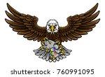 an eagle cartoon character... | Shutterstock .eps vector #760991095