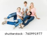 high angle view of happy young... | Shutterstock . vector #760991977