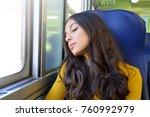 young beautiful woman sleeping...   Shutterstock . vector #760992979