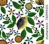 citrus seamless pattern. hand... | Shutterstock .eps vector #760994101