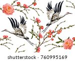 Stock vector colorful floral seamless pattern with flowers japanese bird vector traditional folk fashion 760995169