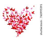 red heart  butterflies ...   Shutterstock .eps vector #760995391