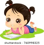 illustration of a kid girl... | Shutterstock .eps vector #760998325