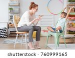 child psychologist and young... | Shutterstock . vector #760999165