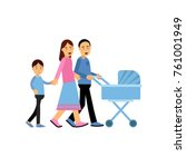 young parents walking with... | Shutterstock .eps vector #761001949