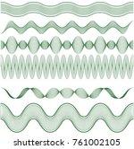 set horizontal guilloche... | Shutterstock .eps vector #761002105