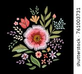 embroidered wildflowers. floral ... | Shutterstock .eps vector #761003731