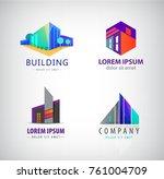 vector set of modern building... | Shutterstock .eps vector #761004709