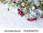 christmas flower arrangement   Shutterstock . vector #761006551