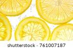 slices of lemon in water with...   Shutterstock . vector #761007187