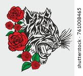 tiger tribal tattoo graphic... | Shutterstock .eps vector #761008465