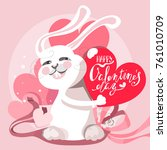 cute and funny valentine's day... | Shutterstock .eps vector #761010709