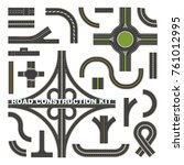 road parts top view.... | Shutterstock .eps vector #761012995