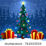christmas tree with gifts on... | Shutterstock .eps vector #761015524