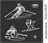 downhill and slalom ski racer... | Shutterstock .eps vector #761015929