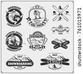 set of winter sports emblems ... | Shutterstock .eps vector #761015971